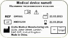 Приклад маркування медичного виробу з урахуванням вимог ГСТУ EN 980:2007